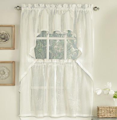 Gridlock Semi-Sheer Kitchen Curtain - Cream