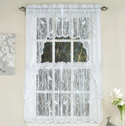 Songbird Lace Kitchen Curtain - White