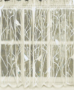 "Songbird 36"" lace kitchen curtain tier - Ivory"