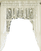 Songbird lace kitchen curtain swag - Ivory