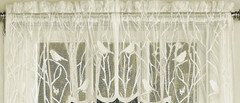 Songbird lace kitchen curtain valance - Ivory