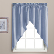 Dorothy swiss dot kitchen curtain swag - Blue
