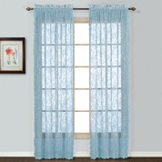 Windsor Lace Rod Pocket Curtain Panel - Blue (2 shown)