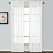 Windsor Lace White (2) Rod Pocket Curtain Panels