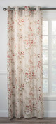 Chatsworth Floral Lined Grommet Top Curtain Panel - Red from Ellis Curtain