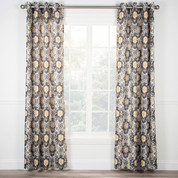 Tuscany Lined Grommet Top Curtain Panel - Black from Ellis Curtain