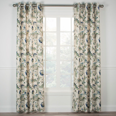 Brissac Lined Grommet Top Curtain Panel - Blue from Ellis Curtain