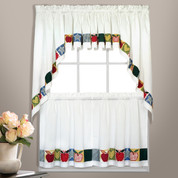 Appleton Appliqued Apples Kitchen Curtain from United