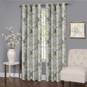 Tranquility Floral Lined Grommet Top Curtain Panel - Silver