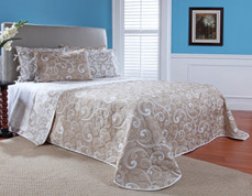 Laurel Reversible Quilted Bedspread - Taupe (shown on mostly taupe side)