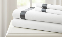 400 Thread Count Satin Band Sheet Set 100% cotton - White/Grey