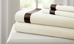 400 Thread Count Satin Band Sheet Set 100% cotton - Ivory/Mocha