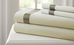 400 Thread Count Satin Band Sheet Set 100% cotton - Linen/Taupe