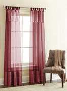 Silk Sheer Loop Top Curtain pair - Burgundy