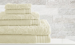Leaf Swirl Collection 6 piece towel SET - Ivory