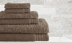 Leaf Swirl Collection 6 piece towel SET - Mocha