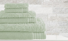 Leaf Swirl Collection 6 piece towel SET - Jade