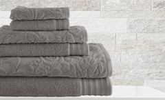 Leaf Swirl Collection 6 piece towel SET - Platinum Grey