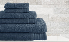 Leaf Swirl Collection 6 piece towel SET - Denim Blue