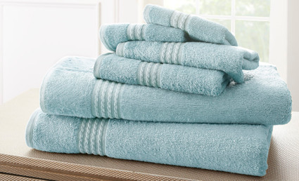 Bamboo Collection 6 piece towel SET - Light Blue