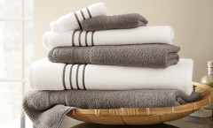 Contrast Stripe Collection 6 piece towel SET - Platinum