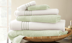 Contrast Stripe Collection 6 piece towel SET - Jade