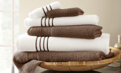 Contrast Stripe Collection 6 piece towel SET - Mocha
