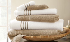 Contrast Stripe Collection 6 piece towel SET - Taupe