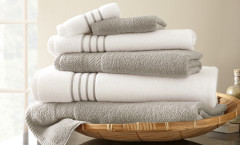 Contrast Stripe Collection 6 piece towel SET - Silver