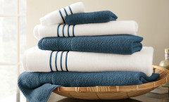 Contrast Stripe Collection 6 piece towel SET - Deep Sea Blue