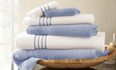Contrast Stripe Collection 6 piece towel SET - Serenity Blue
