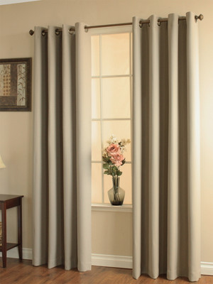 Darcy Insulated Grommet Top Curtain Panel - Taupe