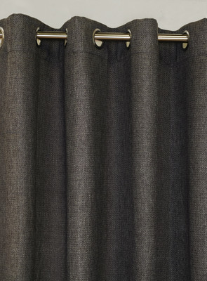 Faux Jute Grommet Top Curtain Panel - Charcoal