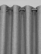 Faux Jute Grommet Top Curtain Panel - Silver