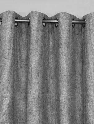 Faux Jute Grommet Top Curtain Panel - Silver