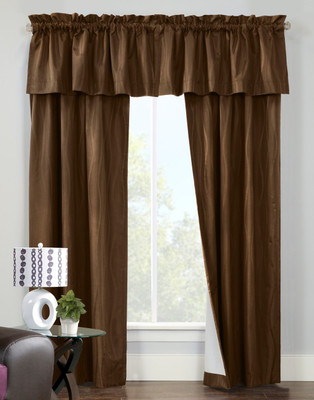 Contrail Insulated Rod Pocket Curtain pair with valance - Chocolate