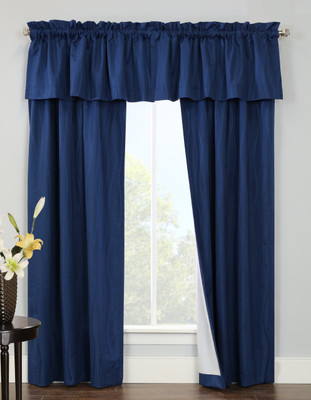 Contrail Insulated Rod Pocket Curtain pair with valance - Navy Blue