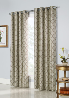 Clover Grommet Top Curtain Panel - Taupe