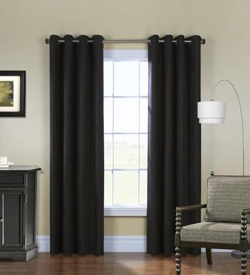Navar Total Blackout Grommet Top Curtain Panel - Black