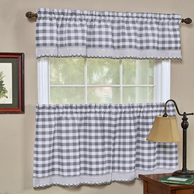 Buffalo Check Kitchen Curtain - Grey