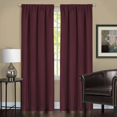 Harmony Blackout Rod Pocket Curtains - Burgundy