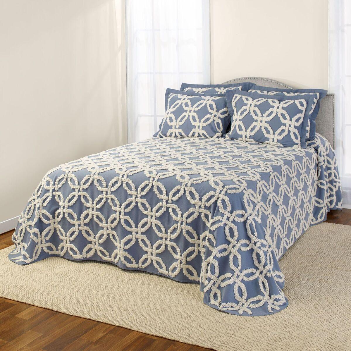 Chenille Bedspreads.Holden Chenille Bedspread Harbor Blue