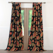 Midnight Paisley tab top curtain pair