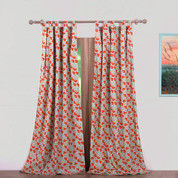 Terra Blossom tab top curtain pair