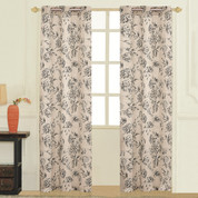 Fiona Floral Grommet Top Curtain pair - Black