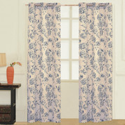 Fiona Floral Grommet Top Curtain pair - Blue from United Curtain
