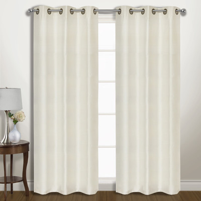 Vintage Faux-Silk Blackout Grommet Top Curtain pair - Ivory from United Curtain