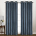 Vintage Faux-Silk Blackout Grommet Top Curtain pair - Blue from United Curtain