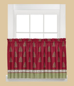 "Hometown Holiday Christmas kitchen curtain 24"" tier"
