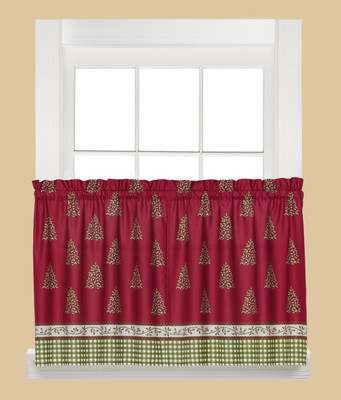 """Hometown Holiday Christmas kitchen curtain 24"""" tier"""